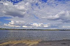 Dnieper River with a nice summer sky. Ukraine. Nature. Dnieper river in summer stock photos