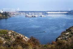 Dnieper river, view of the Dnieper Hydroelectric. View of the hydroelectric power plant across the river from the island Khortytsya Royalty Free Stock Image