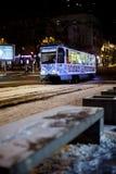 Dniepr, Ukraine - 1er janvier 2017 : Tram de Noël avec l de fête Photos stock