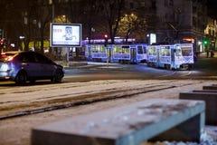 Dniepr, Ukraine - 1er janvier 2017 : Tram de Noël avec l de fête Photographie stock
