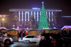 Dniepr, Ukraine - 1er janvier 2017 : Ville de Noël avec du Li de fête Photo stock