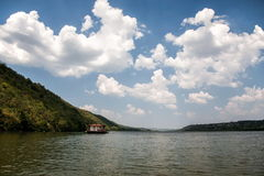 Dniester river landscape with a house on the water. Royalty Free Stock Photo