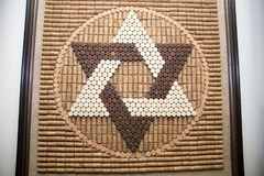 The star of David from wine corks in the jewish tradition, david symbol, religion Royalty Free Stock Images