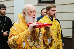 The head of the Ukrainian Orthodox Church of the Kiev Patriarchate, Patriarch Filaret consecrates the church in Dnepropetrovsk. Dnipro city, Ukraine, 14.11, 2017 royalty free stock images