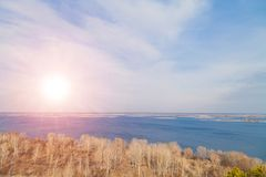 Dnipro Dniper river aerial top beatiful view country side panorama, Ukraine stock image