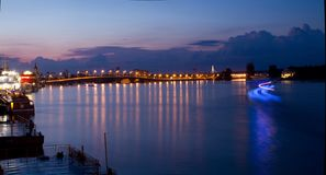 Dnipro quay on sunset background and royalty free stock images