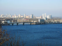 Dnipro River and city of Kiev. Stock Photo