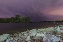 Dnipro river in night Royalty Free Stock Images