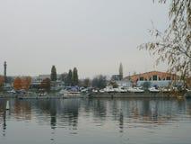Dnipro River, views of Podil, Kyiv city, Fall 2016 Royalty Free Stock Photography