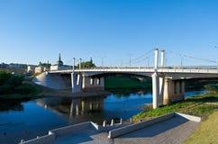 Dnipro rzeka i most Fotografia Stock