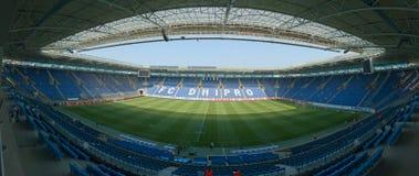 Dnipro Stadium Arena. DNEPROPETROVSK, UKRAINE – AUGUST 11: Dnipro Stadium Arena before Ukrainian Championship match FC Dnepr vs. FC Goverla on August 11 stock photos