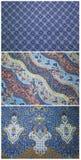 Dnipro, Ucrânia - 13 de agosto de 2016: A textura do teste padrão do close up de batic feito a mão tradicional geral Fotografia de Stock Royalty Free