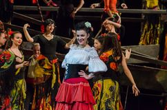 Classical Opera Carmen. DNIPRO, UKRAINE - FEBRUARY 23, 2018: Classical opera Carmen performed by members of the Dnipro Opera and Ballet Theatre Royalty Free Stock Photos