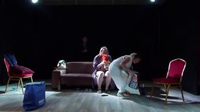 The Trap. DNIPRO, UKRAINE - JULY 7, 2019: Comedy The Trap by  Robert Thomas perfomed by members of the Youth Theater Mirror stock video