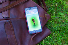 Dnipro, Ukraine - July 23, 2016: The hit augmented reality smartphone app Pokemon GO shows a encounter overlain in park Stock Photos