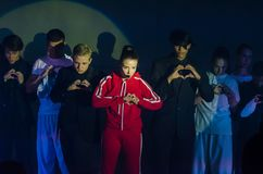 Grand Show Song on Bis. DNIPRO, UKRAINE - JUNE 22, 2018: Grand Show Song on Bis perfomed by members of the Creative Youth Song Theater Stock Photography