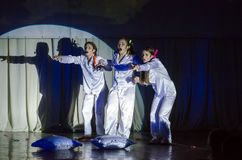 Grand Show Song on Bis. DNIPRO, UKRAINE - JUNE 22, 2018: Grand Show Song on Bis perfomed by members of the Creative Youth Song Theater Stock Images