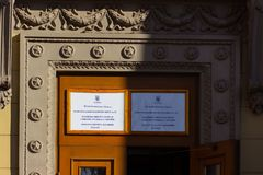 Entrance to the place of the polling station in the university building. Election of the President of Ukraine. royalty free stock photos