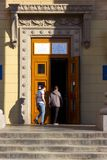 People at entrance to the place of the polling station in the university building. Election of the President of Ukraine. royalty free stock photography