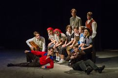 The Epic Drama The Hungry Blood. DNIPRO, UKRAINE - NOVEMBER  25, 2017: The Epic Drama The Hungry Blood performed by members of the Dnipro Youth Theatre Stock Photography