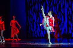 Bolero ballet. DNIPRO, UKRAINE - SEPTEMBER 7, 2018: Bolero ballet performed by members of the Dnipro State Opera and Ballet Theatre stock images