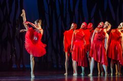 Bolero ballet. DNIPRO, UKRAINE - SEPTEMBER 7, 2018: Bolero ballet performed by members of the Dnipro State Opera and Ballet Theatre stock photography