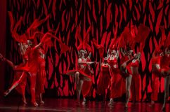 Bolero ballet. DNIPRO, UKRAINE - SEPTEMBER 7, 2018: Bolero ballet performed by members of the Dnipro State Opera and Ballet Theatre stock photos