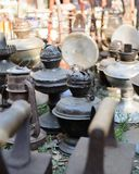 Dnipro, UKRAINE - September 2017: Flea market in Dnipro. Old vintage stuff for sale. Different used products: gas lamps Stock Images