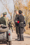 DNIPRODZERZHYNSK, UKRAINE - OCTOBER 26 : Member Historical reenactment in Nazi Germany uniform on October 26,2013 in Dniprodzerzhy Stock Images