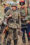 DNIPRODZERZHYNSK, UKRAINE - 26 OCTOBRE : Reconstitution historique de membre dans l'uniforme de Nazi Germany en octobre 26,2013 da photographie stock