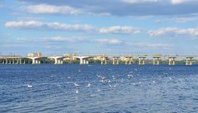 Dnipropetrovsk city quay, Dnieper river, Ukraine Stock Photography