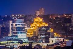 Dnipropetrovsk miasto przy wieczór Fotografia Royalty Free