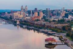 Dnipropetrovsk miasto przy wieczór Zdjęcia Royalty Free