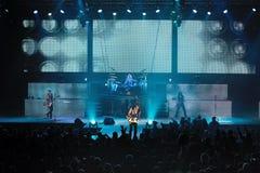 Dnipropetrovsk, Ucraina - 31 ottobre 2012: Banda rock degli scorpioni immagini stock libere da diritti