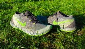 Dnipropetrovsk Ukraina, Sierpień, -, 21 2016: W nowym stylu nike buty na zielonej trawie - illustrative artykuł wstępny Zdjęcie Royalty Free