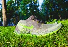 Dnipropetrovsk Ukraina, Sierpień, -, 21 2016: W nowym stylu nike buty na zielonej trawie - illustrative artykuł wstępny Obraz Royalty Free