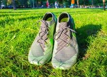 Dnipropetrovsk Ukraina, Sierpień, -, 21 2016: W nowym stylu nike buty na zielonej trawie - illustrative artykuł wstępny Fotografia Stock