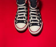 Dnipropetrovsk, Ukraine - May, 29 2016: All Star Converse sneakers on red Stock Photo