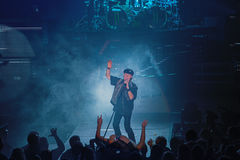Dnipropetrovsk, Ukraine - October 31, 2012: Scorpions rock band. Dnipropetrovsk, Ukraine - October 31, 2012: Klaus Meine from Scorpions rock band performing live royalty free stock images
