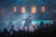 Dnipropetrovsk, Ukraine - October 31, 2012: Scorpions rock band. Dnipropetrovsk, Ukraine - October 31, 2012: Klaus Meine from Scorpions rock band performing live stock photography