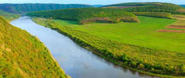 Dnister river bend canyon panorama. Royalty Free Stock Images