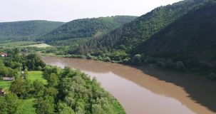 Dnister River, Ukraine. Drone view. Aerial view of Dniester river in Ukraine. Beautiful summer day on the river stock video