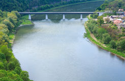 Dnister river and Zalischyky Stock Image