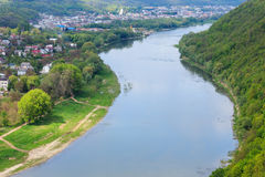 Dnister river and Zalischyky Stock Images