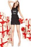 Dünne dünne Zahl moderner modischer Mantel des Abendmakes-up, Kleidungssammlung, Brunette, Geschenkkästen der schönen jungen sexy Lizenzfreie Stockbilder