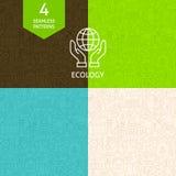 Dünne Linie Art Green Energy Ecology Pattern-Satz Lizenzfreie Stockfotografie