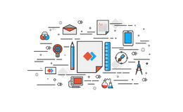 Dünne Linie flaches Design vom Branding Stockfotos