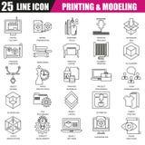 Dünne Linie Ikonen stellte vom Drucken 3D und Modellieren Technologie ein Lizenzfreie Stockbilder