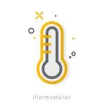 Dünne Linie Ikonen, Thermometer Lizenzfreie Stockbilder