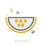 Dünne Linie Ikonen, Wassermelone Lizenzfreie Stockfotografie